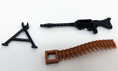 Modbrix 7625 – 10 x Maschinengewehr mit Patronengurt und Standfuß,Custom Waffen Set für Lego Figuren - 2