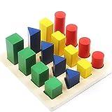 Kreatives Steckpuzzle Geometrisches Puzzle Holzpuzzles Steckspiel Holz Steckwürfel Kinder Sortier Kätschen Baby Holzspielzeug Farben- und Formen Sortierspiel