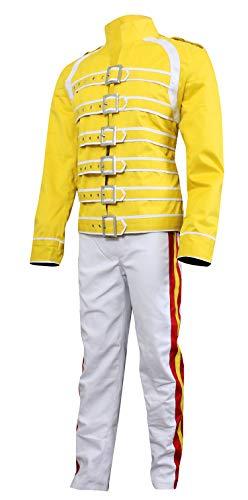 CHICAGO-FASHIONS Herren Mercury-Jacke Wembley Queen Tribute Konzertkostüm Baumwolle - Weiß - - Freddie Wembley Kostüm