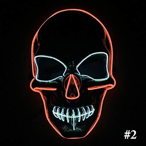 Halloween Maske LED leuchten Skeleton Kopf Party Kostüm Maske Cosplay Maske (Led-leuchten Für Halloween)