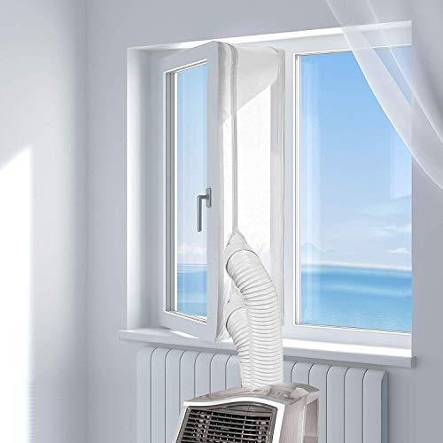 Fensterabdichtung für Passend zu Jedem Klimagerät und Schlauchgrößen, Langlebiges UV-beständiges und wasserdichtes Material - Umlaufmaß bis 400 cm (Weiß)