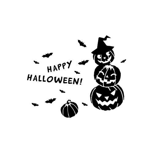 Keepwin Happy Halloween Hexe Fledermäuse Wandaufkleber, Fenster Dekoration Mode Aufkleber Dekor Tapete (Schwarz)