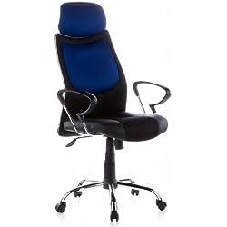 hjh OFFICE 666830 CITY 80 Silla de oficina, piel sintética / tejido negro / azul cromado