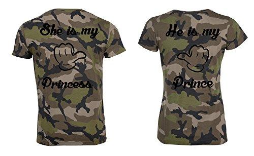 """TRVPPY Partner Pärchen Herren + Damen Camouflage T-Shirts """"SHE IS MY PRINCESS & HE IS MY PRINCESS"""" in versch. Farben Schwarz-Camouflage"""