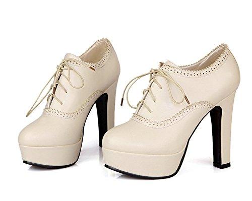 Wealsex Bottines à lacets Escarpins Femme Plateforme Talon Carre PU Cuir Bout Rond Chaussure Mode Grande Taille 40 41 42 43 Beige