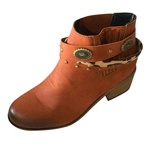 COZOCO Damen Retro Römische Kurze Stiefel Einfarbig Quadrat Ferse Stiefeletten Mode Verband Niet Winterstiefel Outdoor Freizeit Schneeschuhe(Braun,38 EU)