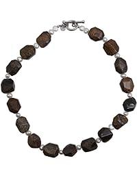 459035f4b480 Edelsteinkette 925 Sterling Silber mit Bronzit Süßwasser-Perlen 45 cm Damen  Halskette