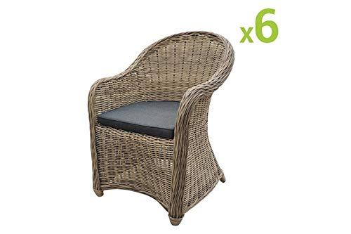 Au jardin de Chloé | Lot de 6 fauteuils de Jardin en résine tressée Ronde CLEA en Osier Naturel