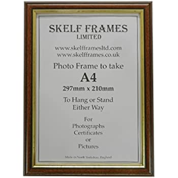 a4 wood picture photo certificate frame dark wood with gold inlay