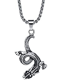 Stainless Steel Men's Dangling Water Dragon Pendant Necklace With 3.5Mm Round Link Chain - G2035D
