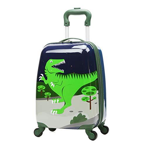 3D children's backpack Kinder Gepäck 2 Satz Dinosaurier Cartoon ABS 12 Zoll Rucksack + 18 Zoll Koffer Für Kinder Jungen Und Mädchen Reise Schule Trolley Suitcase 18 inch