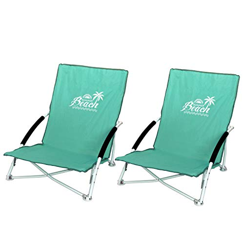 Wohaga 2 Stück Strandstuhl Summer-Beach inkl. Transporttasche Campingstuhl Gartenstuhl faltbar Türkis Klappstuhl Anglerstuhl Faltstuhl