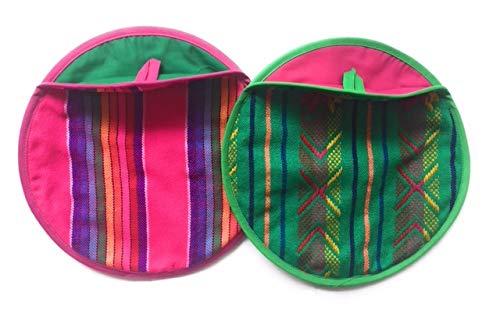 Tortilla Wärmer (Grahmart Pack von 2Echten Mexikanische Tortilla Wärmer 22,9cm-Isoliert, Mikrowelle Baumwolle Stoff Tasche-tortillero de Tela Frida Cactus Pink-Yellow)