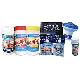 Happy Hot Tubs 8 Pc 1kg Bromine Chemical Starter Kit for Hot Tubs and Small Swimming Pools