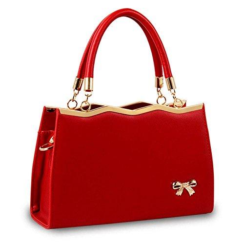 koson-man Damen modische Vintage Hochzeit Party Tote PU Leder Taschen Top Griff Handtasche, rot (Rot) - KMUKHB117