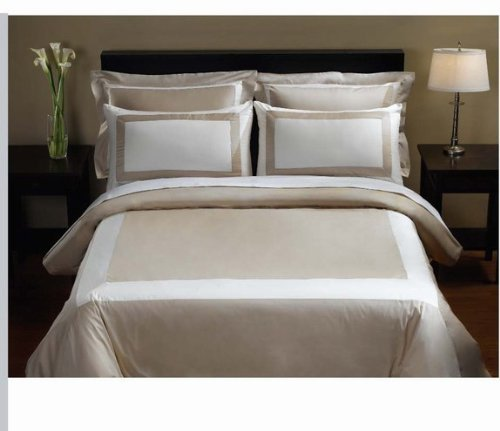 Egyptian Linens 5 Pc Queen Vanilla Canvas 100% Egyptian Cotton Duvet Cover Set