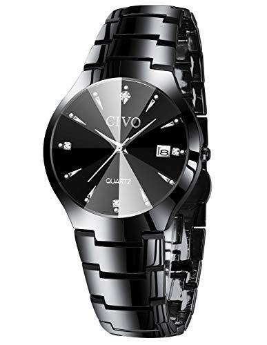 Herrenuhren Herren Edelstahl Schwarz Klassische Luxus Analog Quarz Uhren Business Datum Kalender Mode Kleid Klassische Einfache Designer Uhren für Männer (Herren-diamant-jubiläum-band)