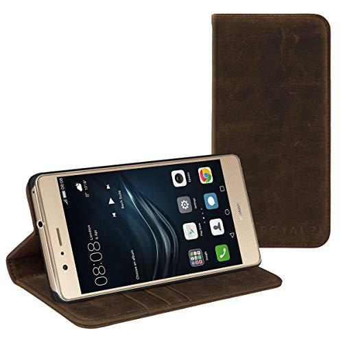 ROYALZ Schutzhülle für Huawei P9 Lite Ledertasche (Huawei P9 lite 2016) Book Case Tasche Cover Vintage Etui Schutztasche Lederhülle mit unsichtbaren Magnet Hülle Leder, Farbe:Braun