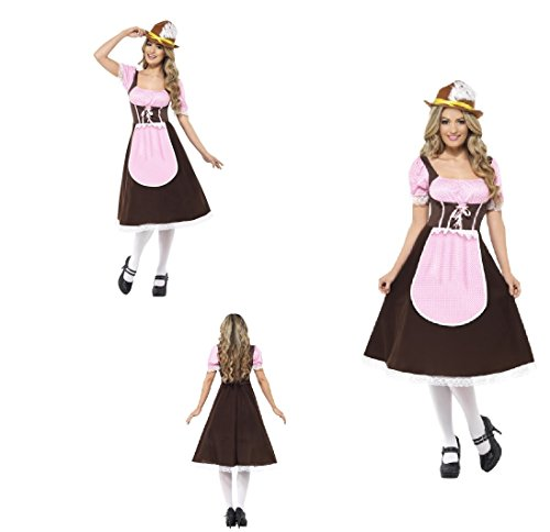 Womens Ladies Bavarian Beer Festival Tavern Girl Fancy Dress Costume Long Dress With Attached Apron/Hen Do/Oktoberfest/Beer Festival Carnival/German Costume/Dirndl (UK Dress 12-14 (M))