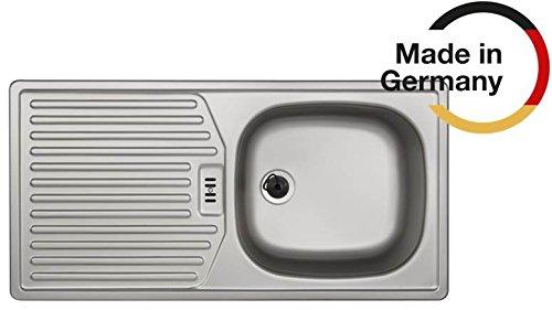 Rieber Einbauspüle E 86 K Leinenstruktur Edelstahl Küchenspüle Made in Germany 860 x 435 mm, 1 Becken mit Abtropffläche, langlebig und rostfrei