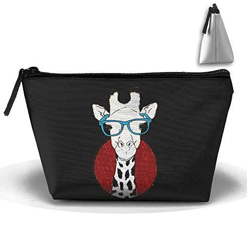 Giraffe mit Brille Travel Toiletry Kosmetiktasche wasserdicht Reißverschluss Aufbewahrungstasche