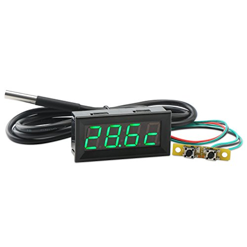 "Droking Digital Multimeter, 0.56""Grün LED Auto Voltmeter Uhr Thermometer mit 18B20 Sensor Probe 100 cm DC7-30V Uhr Temperatur Spannung Meter Volt Zeit Temp 3in1 Monitor"