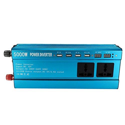 perfk 5000W Inversor Solar Display 12V DC al Coche Sinusoidal de Convertidor de Corriente Alterna 220V