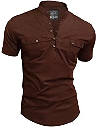 D&R Fashion Summertime Shirt with Mid-Chest Fastening Loops and Grandad Collar Many Colours