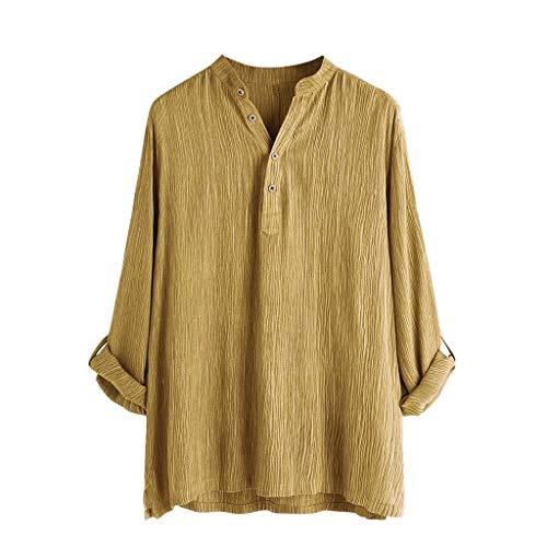 T.boys Mens Henry Shirt Leinen-Baumwolle Hemd Breathable Leinenhemd Langarmshirt Summer Herbst Hemd Casual Regular Fit Oberteile -