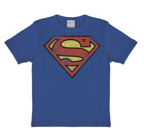 DC Comics - Superheld - Superman Logo T-Shirt Kinder Jungen - blau - Lizenziertes Originaldesign - LOGOSHIRT, Größe 158/164, 13-14 (Alter 13 Batman Kostüm)