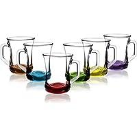 COM-FOUR® Juego de vasos de 6 piezas, vaso de té/café
