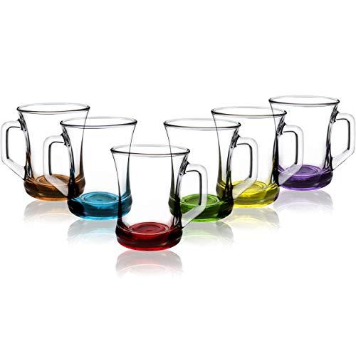 06 Tee (COM-FOUR® 6-teiliges Trinkgläser Set, Tee- / Kaffee- / Cappuccino-Glas, spülmaschinenfest (Set3-06 Stück/Teeglas farbig))