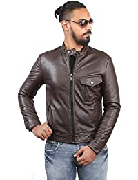 BARESKIN Men's Slight Slant Pocket Brown Leather Jacket