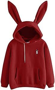 Cute Student Hoodie Hoodies Hoody,Women Bunny Ears Pullover Sweatshirts/Tracksuit with Practical Pocket,for Gi