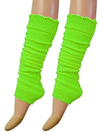 Luxurious Ladies 80's Dance Plain Ribbed Leg Warmers Legwarmers Tutu By Vogueland (Green)