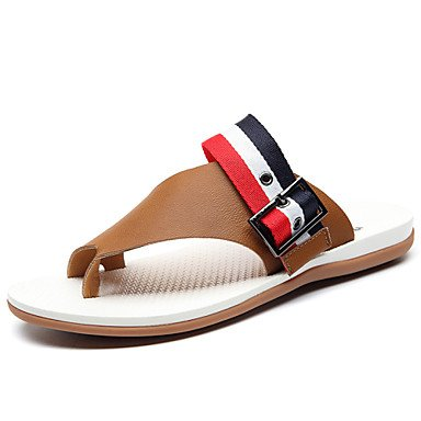 Sommer Sandalen Herrenschuhe Outdoor/Büro & Beruf/Casual Leder Hausschuhe Schwarz/Braun Schwarz