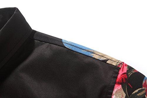 SSLR Herren Blumen Slim Fit Kurzarm Freizeit Button Up Hemd Schwarz