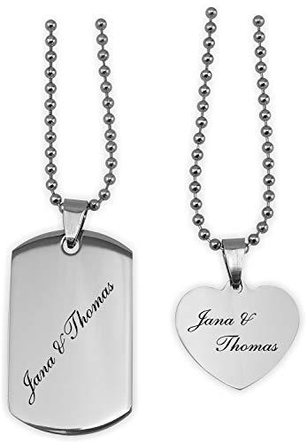 TH-Design Sehr schöne Partner-Halskette für Sie und Ihn mit Gravur Wunschtext, 8 schöne Motive zur Auswahl.