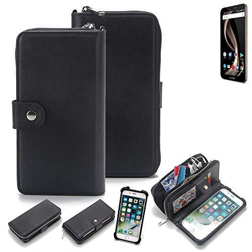 K-S-Trade 2in1 Handyhülle für Allview X4 Soul Infinity Z Schutzhülle & Portemonnee Schutzhülle Tasche Handytasche Case Etui Geldbörse Wallet Bookstyle Hülle schwarz (1x)