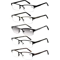 cb31aab5b7 Amcedar Metal Half-Frame Reading Glasses Men 5-Pack Spring Hinges Stainless  Steel Material
