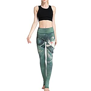 41pAyae3MiL. SS300  - FLYILY Women's Long Yoga Pants Sports Leggings Running Tights High Waist Stretch Fitness Trousers