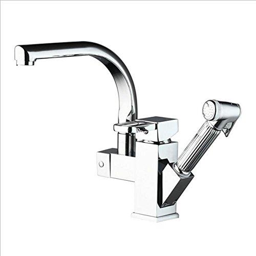 Preisvergleich Produktbild XMJ Messing-moderne einzelne Hebel-Küche-Wannen-Hahn mit herausgezogenem seitlichem Spray-Schlauch