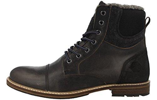 BULLBOXER Herren Winterstiefel 565K86929,Männer Winter-Boots,Fellboots,Fellstiefel,gefüttert,Warm,Blockabsatz,Black,EU 44