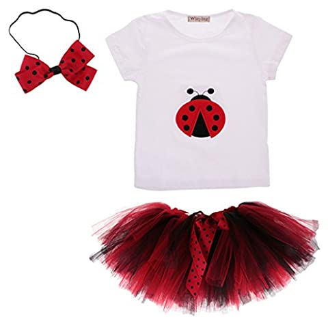 Sharplace Fille T-shirt Coccinelle en Coton avec Tutu et Headband Vêtement Mignon pour Performance Photographie - Blanc Rouge, M