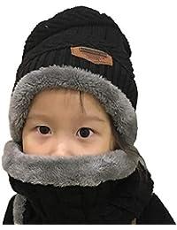 Yuson Girl Conjunto de Bufanda y Gorro de Punto para niños Forro Polar de Lana  Beanie 54400a3f07d