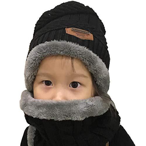 63ca31475c581 Yuson Girl Conjunto de Bufanda y Gorro de Punto para niños Forro Polar de  Lana.