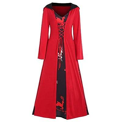Sufeng Women Christmas Elk Printed Patchwork Hoodie Lace Up Vintage Long Dress Cloak