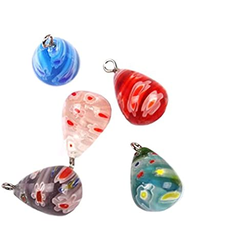 20PCS Mixed Colorful Glaze Flower Teardrop Charms Beads Pendants Findings Fit Handmade Crafts