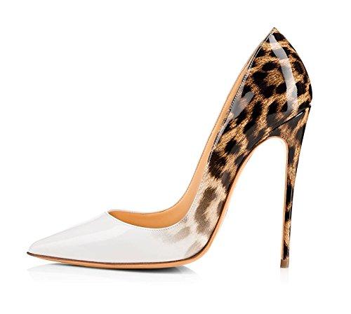 EDEFS Damen Spitze Zehe Schuhe 120mm High Heel Pumps Hohen Absätzen Abendschuhe White Größe EU37 White High Heel-schuhe