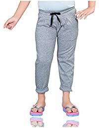Mint Grey Cotton Girl's Ankle Track Pant